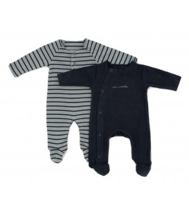 WEE Pack 2 Babygrows blue and grey
