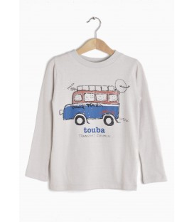L/s t-shirt Touba Bus light grey