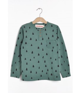 Buttoned l/s t-shirt Crocodile teeth green