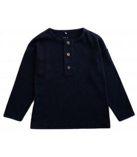L/S rib t-shirt black w/buttons