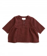 Baby striped tunic brick