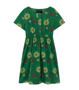 DOLPHIN KIDS DRESS Green Flowers