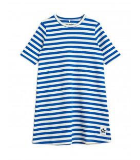 Stripe rib s/s dress blue