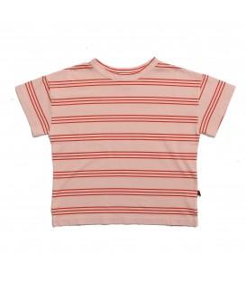 T-shirt às riscas rosa e cor de terra