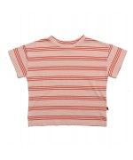 Wide Tee Striped Pink Earth