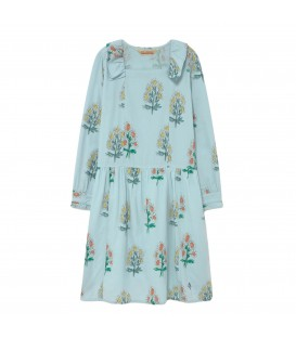 Tortoise Dress Soft Blue Flowers