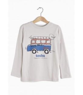 T-shirt m/comprida Touba Bus cinza clara