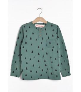 T-shirt m/comprida e botões Crocodile teeth verde