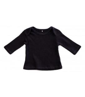 T-shirt m/comp canelada preto desgastado