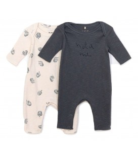 WEE Pack 2 playsuits rib flamé