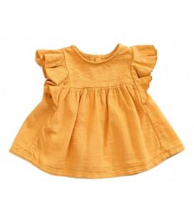 Tunica de bebé c/folhos amarela