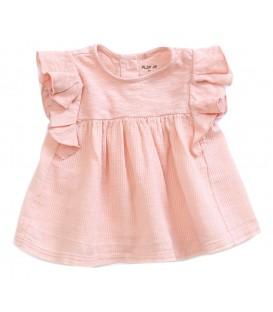 Tunica de bebé c/folhos rosa claro