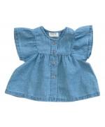 Baby linen tunic w/frills